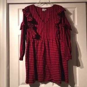 ASOS plaid ruffle dress